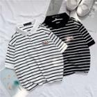 Short-sleeve Polo Collar Striped T-shirt