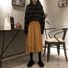 Striped Sweater / Midi A-line Skirt