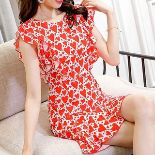Heart Print Ruffle-sleeve Sheath Dress