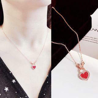 Rhinestone Heart Lock Pendant Necklace