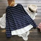 Long-sleeve Panel Striped Top