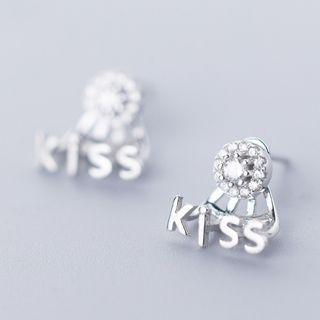 925 Sterling Silver Rhinestone Kiss Earring As Shown In Figure - One Size