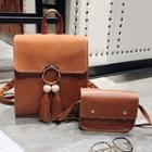 Faux Leather Tasseled Backpack / Crossbody Bag / Set