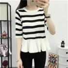 3/4-sleeve Striped Knit Top Black White - One Size