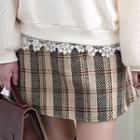 Checked Wool Blend Mini A-line Skirt