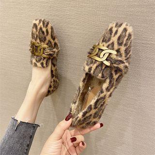Leopard Print Faux Fur Loafers
