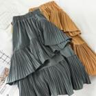 Midi Pleated Layered Skirt