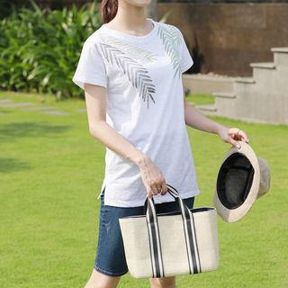 Foliage-print Cotton T-shirt