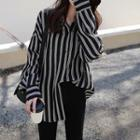 Oversize Chiffon Striped Blouse