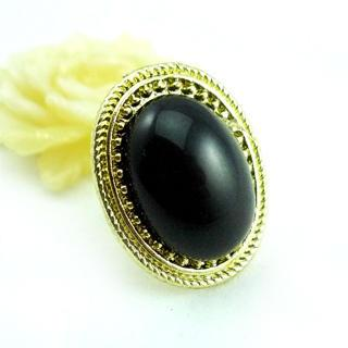 Oval Gem Ring Black - One Size