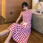 Check A-line Sleeveless Dress