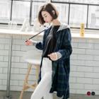 Longline Flannel Plaid Hooded Jacket