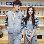 Camouflage-sleeve Couple Matching Snap-button Jacket