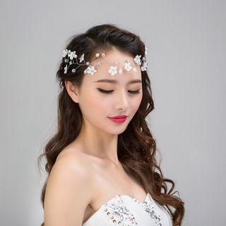 Lace Faux Pearl Flower Headpiece White - One Size
