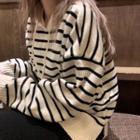 Striped Long-sleeve Loose-fit Hooded Sweater / Plain Knit Skirt