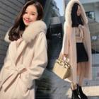 Open Front Furry Trim Hooded Coat