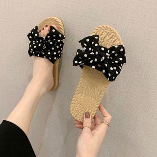 Polka Dot Bow Slippers