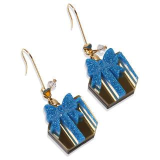 Glitter Blue Present Dangle Gold Earrings