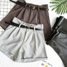 Striped Loose-fit Shorts With Belt