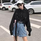 Long-sleeve Pocketed Shirt Black - One Size