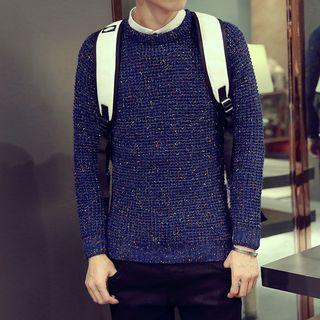 Jacquard Long-sleeve Knit Sweater