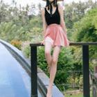 Set: Two-tone Swimsuit + Swim Skirt