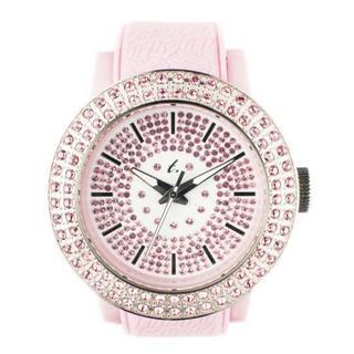 Diamond Lens Glass Pink Strap Watch