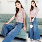Set: Printed Short-sleeve Top + High Waist Wide-leg Jeans