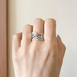 925 Sterling Silver Leaf Open Ring K685 - Silver - One Size
