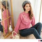 Long Sleeve Floral Embroidered Sweater