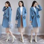 Furry Accent Buttoned Coat