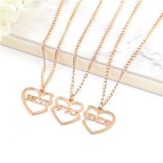 Set Of 3: Best Friends Lettering Heart Pendant Necklace Gold - One Size
