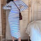 Striped Sweater / Midi Pencil Skirt