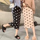 Dotted Midi Sheath Skirt