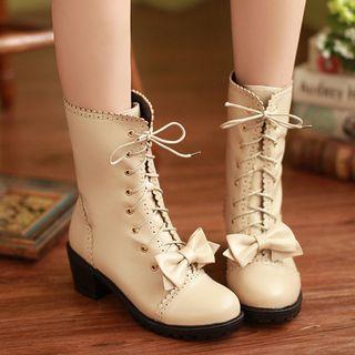 Bow Block Heel Mid-calf Boots