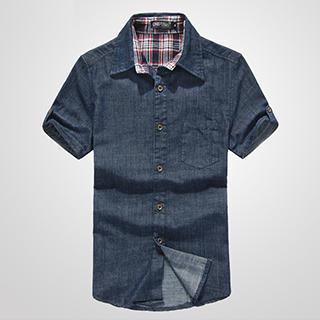 Short-sleeve Denim Shirt