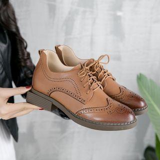 Genuine-leather Wingtip Oxfords