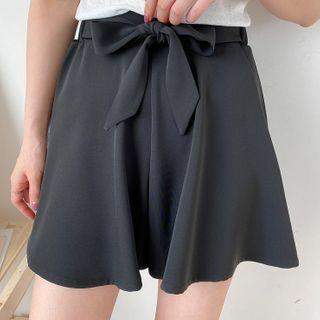 Bow Accent Wide-leg Shorts