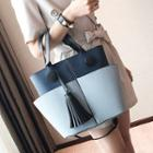 Tasseled Color Panel Faux Leather Tote