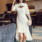 Dotted Mesh Panel Elbow Sleeve Dress