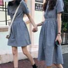 Short-sleeve Plaid A-line Dress/ Midi Dress