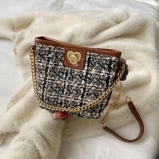 Pom Pom Chain Strap Tweed Crossbody Bag