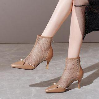 Pointy-toe Mesh Panel Stiletto Heel Short Boots