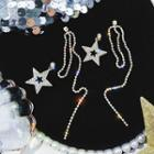 Rhinestone Star Dangle Earring 1 Pair - Earrings - Gold - One Size