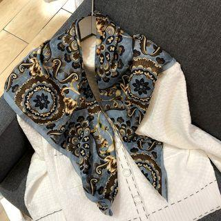 Printed Satin Scarf Blue - One Size