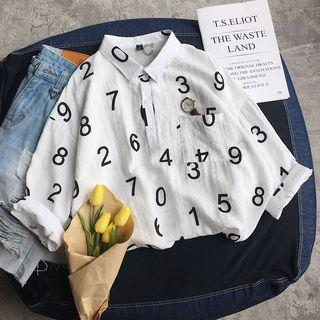 Number Print 3/4 Sleeve Shirt