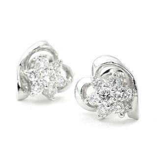 18k White Gold Heart Shape Earrings With Diamonds
