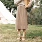 Pleated Midi A-line Velvet Skirt
