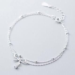 925 Sterling Silver Bow Layered Bracelet 925 Sterling Silver - Bracelet - One Size