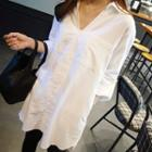Split-collar Long Blouse